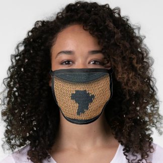 Black Africa Map Artisan Crochet All Over Print Face Mask