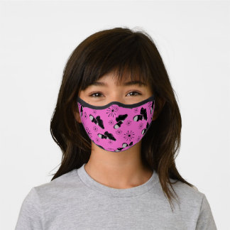 Black and Bright Magenta Pink Tap Shoes Dancers Premium Face Mask