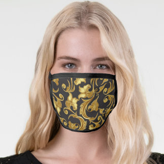 Black and Gold Elegant Ornamental Floral Pattern Face Mask