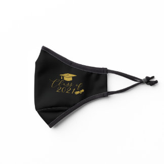 Black and Gold Graduation Class of 2021 Premium Face Mask