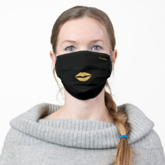 Black and Gold Kiss Lips Custom Adult Cloth Face Mask