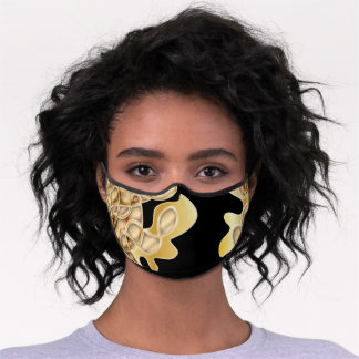 Black and Gold Metallic Luxurious Glam Abstract Premium Face Mask