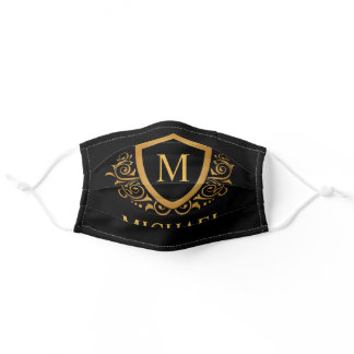 Black and Gold Personalized Monogram Name Adult Cloth Face Mask