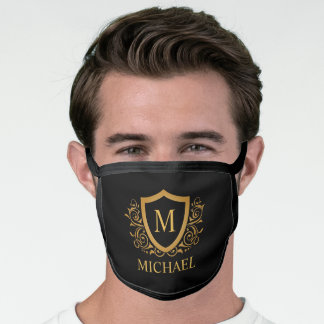 Black and Gold Personalized Monogram Name Face Mask