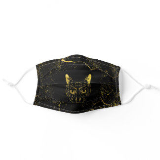 Black and Gold Sphynx Cat Adult Cloth Face Mask