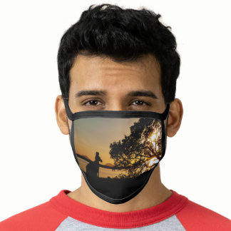 Black and Gold Sunset Kangaroo Landscape Australia Face Mask