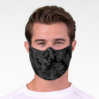 Black and gray camouflage camo pattern premium face mask