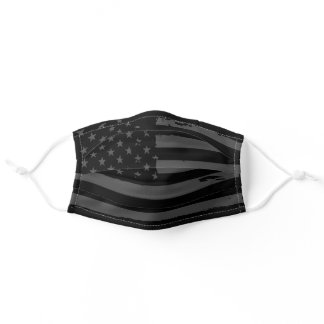 Black and gray stripes stars pattern American flag Adult Cloth Face Mask