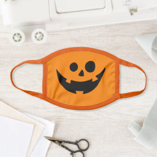 Black and Orange Happy Pumpkin Halloween Face Mask