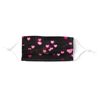 Black and Pink Hearts Pattern Cute Adult Cloth Face Mask