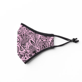 Black and pink paisley pattern premium face mask