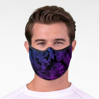 Black and purple camouflage camo pattern premium face mask