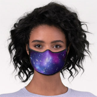 Black and Purple Celestial Galaxy Cluster Premium Face Mask