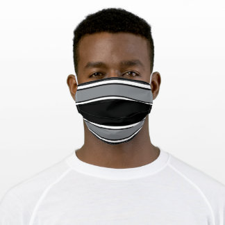 Black and Silver Sports Stripe Adult Cloth Face Mask