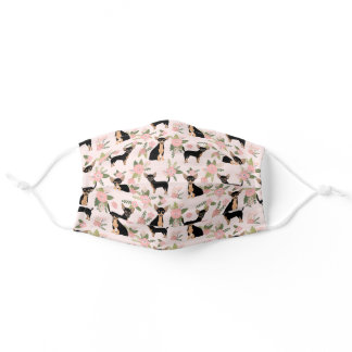 black and tan chihuahua  peach florals adult cloth face mask