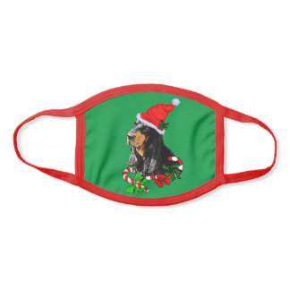 Black and Tan Coonhound Christmas Face Mask