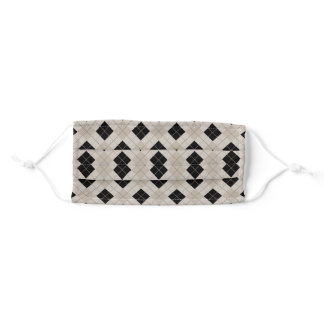 Black and Taupe Diagonal Plaid Harlequin Pattern Adult Cloth Face Mask