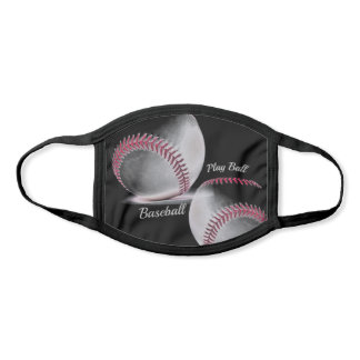 Black and White Baseballs with Red Stitching Face Mask