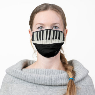 Black and White Beige Piano Keys Keyboard Monogram Adult Cloth Face Mask