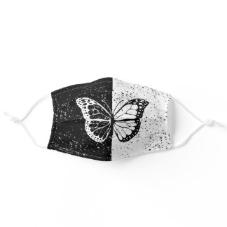 Black and White Butterfly and Stars Elegant Beauty Adult Cloth Face Mask