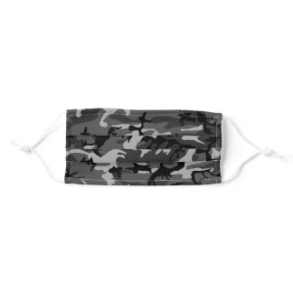 Black and White Camouflage Pattern Personalized Adult Cloth Face Mask