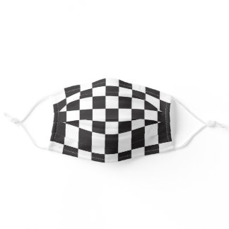 Black and White Checkered Checkerboard Pattern Adult Cloth Face Mask