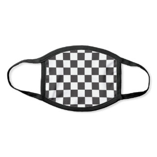 Black and White Checkered Checkerboard Pattern Face Mask