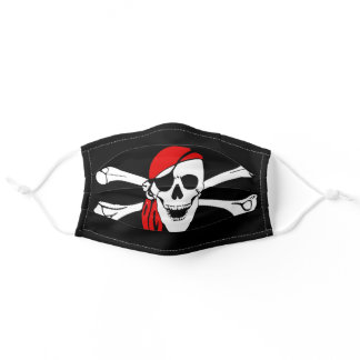 black and white crossbones pirate skull adult cloth face mask