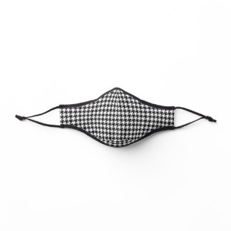 Black and White Customizable Color Houndstooth Premium Face Mask