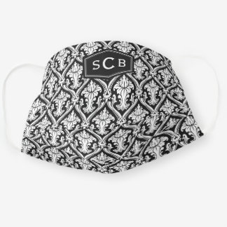 Black And White Damask Pattern 3 Initial Monogram Adult Cloth Face Mask