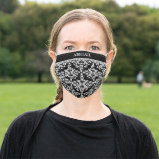 Black and White Damask With Name Adult Cloth Face Mask