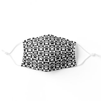 Black And White Dog Paw Prints In Squares Adult Cloth Face Mask
