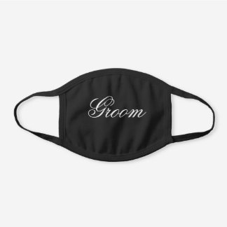 Black and White editable text Groom Wedding Black Cotton Face Mask