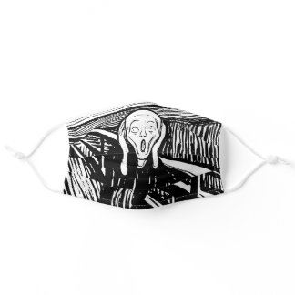 Black and White Edvard Munch The Scream Adult Cloth Face Mask
