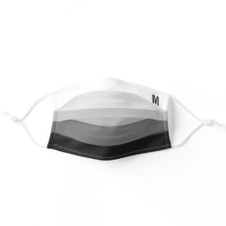 Black and White Gradient Stripes with Monogram Adult Cloth Face Mask