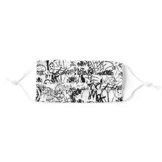 Black and White Graffiti Abstract Collage Adult Cloth Face Mask