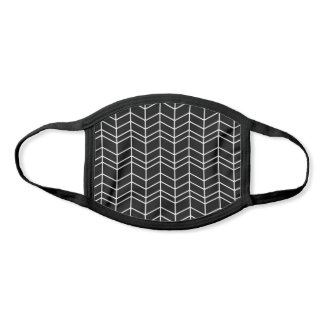 Black and White Herringbone Chevron Pattern Face Mask