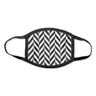 Black and White Herringbone Pattern Face Mask