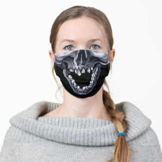 Black and White Human Skull Smiling Adult Cloth Face Mask