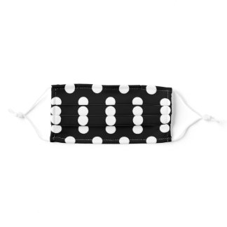 Black and White Large Polka Dot Pattern Adult Cloth Face Mask