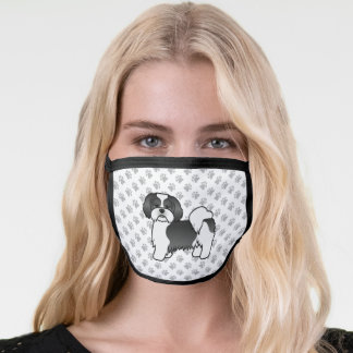 Black And White Lhasa Apso Cartoon Dog & Paws Face Mask