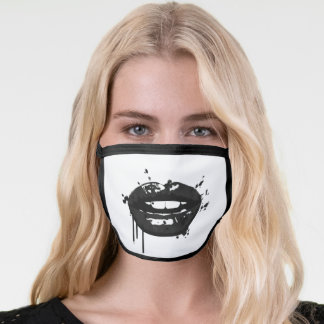 Black and White Lips Face Mask