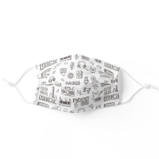 Black And White Music Icons Doodle Pattern Adult Cloth Face Mask