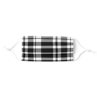 Black and White Plaid Adult Cloth Face Mask