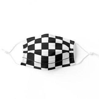 BLACK AND WHITE RACING CHECKER ADULT CLOTH FACE MASK