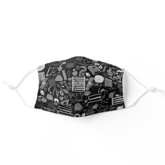 Black and white school theme adult cloth face mask