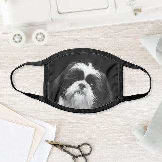 Black and White Shih Tzu dog face mask