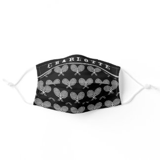 Black and White Simple Tennis Personalized Cool Adult Cloth Face Mask