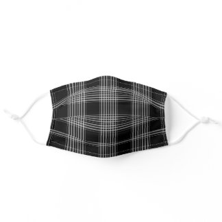 Black and White Tartan Plaid Checks Pattern Adult Cloth Face Mask