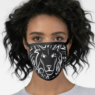 Black and White Tribal Lion Face Mask